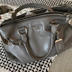 Prada Double  Zip Soft Calf Gray Leather